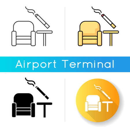 Smoking area icon. Comfort zone at airport terminal for smokers. Smoke cigar inside house. Public room for passenger smokers. Linear black and RGB color styles. Isolated vector illustrations