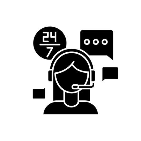 Customer service jobs black glyph icon. Call centre operator, online chat consultant. 24 hours assistance, client technical support. Silhouette symbol on white space. Vector isolated illustration