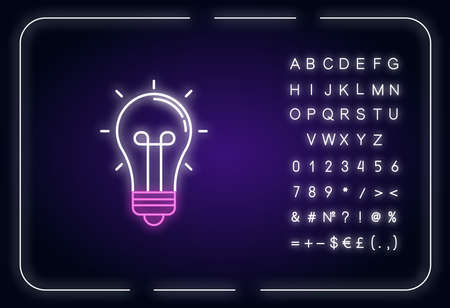 Light bulb neon light icon. Glowing lightbulb. Think of solution. Incandescent lamp. Outer glowing effect. Sign with alphabet, numbers and symbols. Vector isolated RGB color illustration 向量圖像