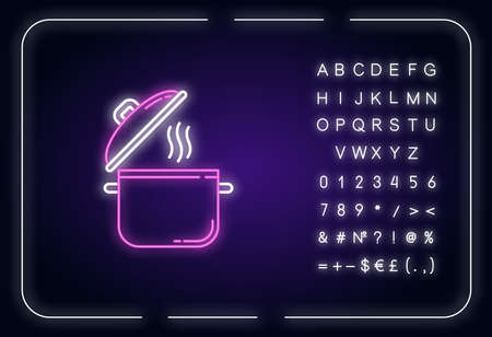 Cooking pot neon light icon. Recipe for casserole. Saucepan with steam. Cute kitchenware. Outer glowing effect. Sign with alphabet, numbers and symbols. Vector isolated RGB color illustration