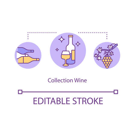 Collection wine concept icon. Luxury beverage. Collect expensive gourmet alcohol. Expensive drink idea thin line illustration. Vector isolated outline RGB color drawing. Editable stroke