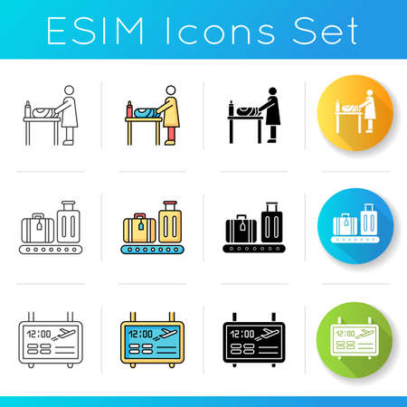 Airport terminal icons set. Changing table for baby care. Checked luggage on conveyor. Scoreboard for flight info. Linear, black and RGB color styles. Isolated vector illustrations