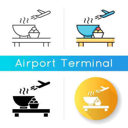 Airport restaurant icon. Serving food in aircraft terminal cafe. Eat at cantine before flight. Dining area before plane departure. Linear black and RGB color styles. Isolated vector illustrations