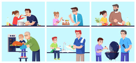 People cooking together, fathers and children preparing food flat vector illustrations set. Smiling daddies and kids, family members with kitchen stuff isolated cartoon characters kit