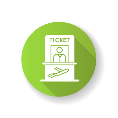Airplane ticket counter green flat design long shadow glyph icon. Get boarding pass at registration counter. Check in for flight. Kiosk with personnel at aircraft. Silhouette RGB color illustration Ilustração
