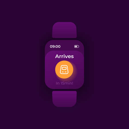 Trip notice smartwatch interface vector template. Railway transportation mobile app notification night mode design. Train arrival reminder message screen. Flat UI for application. Smart watch display