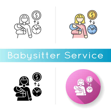 Babysitter pay rate icon. Income from babysitting services. Earn money for child care. Woman with infant baby on part time job. Linear black and RGB color styles. Isolated vector illustrations  イラスト・ベクター素材