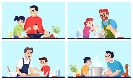 Cooking people, fathers and children with food flat vector illustrations set. Daddies and kids preparing dinner, family members with utensil and cutlery isolated cartoon characters kit