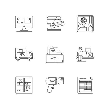 Inventory control and bookkeeping pixel perfect linear icons set. Spreadsheets and card system. Customizable thin line contour symbols. Isolated vector outline illustrations. Editable stroke