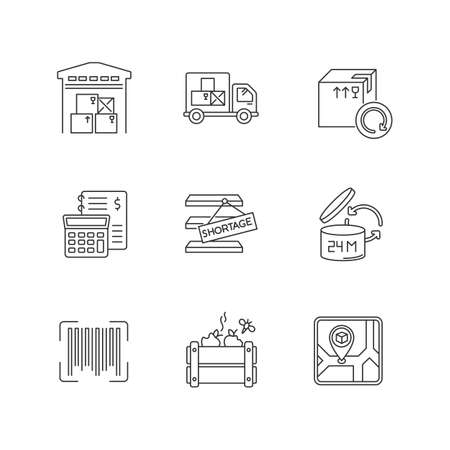 Inventory management pixel perfect linear icons set. Storage place, spoilage and purchase returns. Customizable thin line contour symbols. Isolated vector outline illustrations. Editable stroke