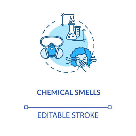 Chemical smells concept icon. Flawed wine fermentation indication idea thin line illustration. Recognizing spoiled drink by acetone scent. Vector isolated outline RGB color drawing. Editable stroke Vettoriali