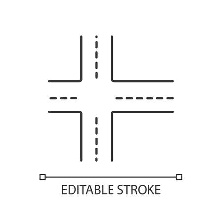 Crossroad pixel perfect linear icon. Intersection of roads. Crossing ways. Crossed motorway. Thin line customizable illustration. Contour symbol. Vector isolated outline drawing. Editable stroke