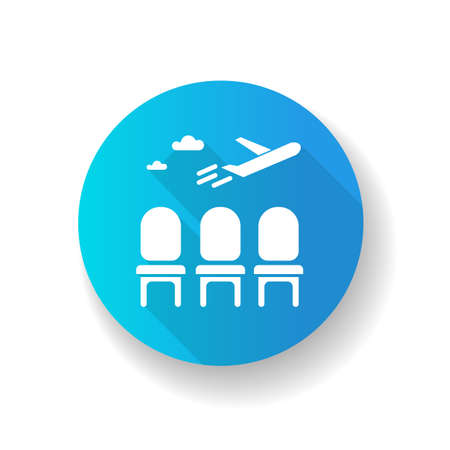 Airport lounge blue flat design long shadow glyph icon. Waiting lobby before airplane departure. Aircraft lounge for passengers. Going on vacation with airline. Silhouette RGB color illustration