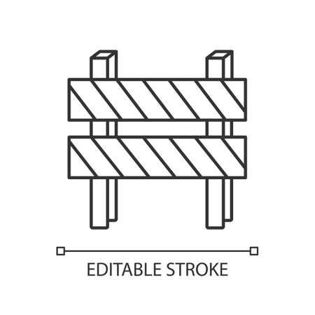 Road barrier pixel perfect linear icon. Striped block on highway. Dead end sign. Thin line customizable illustration. Contour symbol. Vector isolated outline drawing. Editable stroke