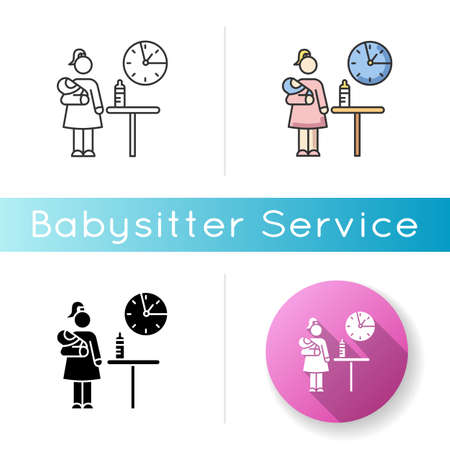 Part time babysitter icon. Babysitting service worker. Girl looking after baby. Day child care. Help with infant kid. Linear black and RGB color styles. Isolated vector illustrations Illustration