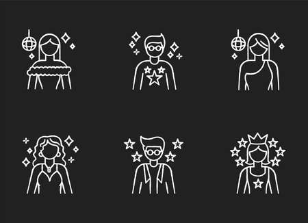 Popular celebrity chalk white icons set on black background. Famous female and male actors. Talent show star. Successful entertainer. Stylish idol. Isolated vector chalkboard illustrations