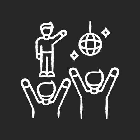 Fan meeting chalk white icon on black background. Party in disco club. People dancing at celebration. Nightclub performance. Night life entertainment. Isolated vector chalkboard illustration