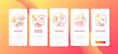 Wine tasting onboarding mobile app page screen with concepts. Proper look to visit restaurent walkthrough 5 steps graphic instructions. UI vector template with RGB color illustrations