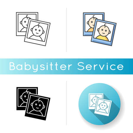 Baby photo report for parents icon. Instant photos of child. Little kid smiling on images. Pictures with border of newborn. Linear black and RGB color styles. Isolated vector illustrations