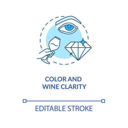 Color and wine clarity concept icon. Wine tasting, checking drinks appearance idea thin line illustration. Evaluating wine quality by look. Vector isolated outline RGB color drawing. Editable stroke Banco de Imagens - 143707969