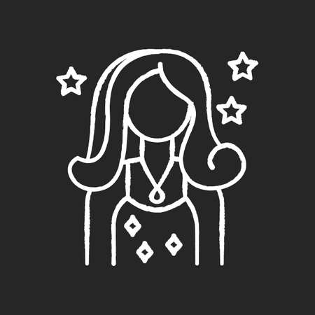 Celebrity chalk white icon on black background. Famous female beauty influencer. Talent show participant. Movie actress. Cinema superstar. Popular diva. Isolated vector chalkboard illustration