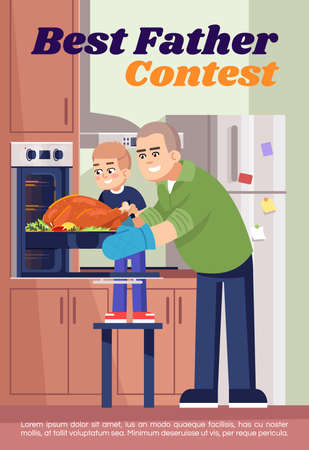 Best father contest poster template. Commercial flyer design with semi flat illustration. Vector cartoon promo card. Family cooking, preparing dinner together, baking turkey advertising invitation