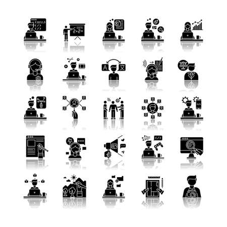 Freelance professions drop shadow black glyph icons set. Web development and graphic designing, tutoring and copywriting. HR management, data entry jobs. Isolated vector illustrations on white space