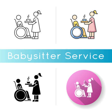 Special needs icon. Social worker help senior person. Disabled man in wheelchair. Woman feeding male hospital patient. Linear black and RGB color styles. Isolated vector illustrations