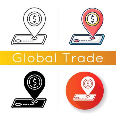 Tariffs icon. Import and export tax, foreign trading regulation. Trade barrier, international commerce restriction. Linear black and RGB color styles. Isolated vector illustrations