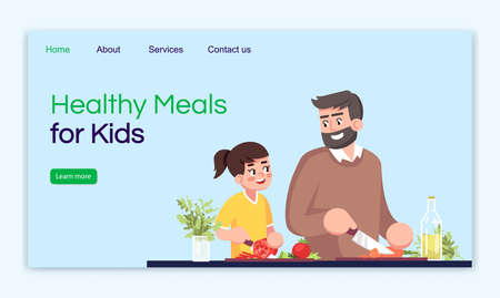 Healthy meals for kids landing page vector template. Natural food recipes website interface idea with flat illustrations. Organic nutrition homepage layout. Healthcare cartoon web banner, webpage