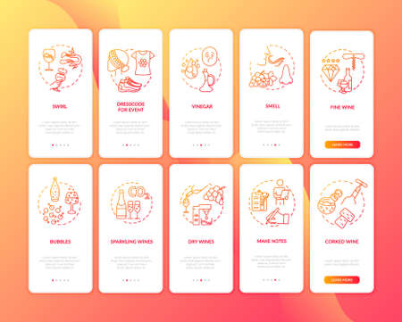 Wine tasting onboarding mobile app page screen with concepts. Proper rules for restaurant event walkthrough 5 steps graphic instructions. UI vector template with RGB color illustrations  イラスト・ベクター素材