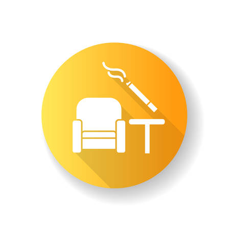 Smoking area yellow flat design long shadow glyph icon. Comfort zone at airport terminal for passenger smokers. Cigarette indoor. Smoke cigar inside house. Silhouette RGB color illustration Ilustración de vector