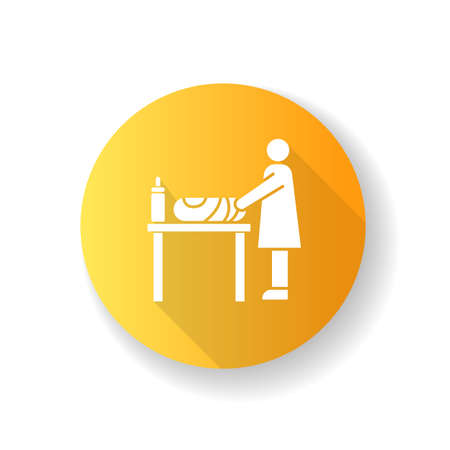 Changing table yellow flat design long shadow glyph icon. Mother changing diapers for baby. Caregiver with child. Nursery desk at restroom for parent and newborn. Silhouette RGB color illustration Vettoriali