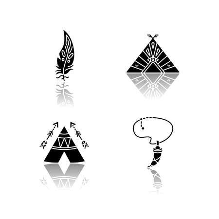 Native american indian accessories drop shadow black glyph icons set. Necklace with tooth, eagle feather. Wigwam with arrows and ethnic ornaments. Isolated vector illustrations on white space
