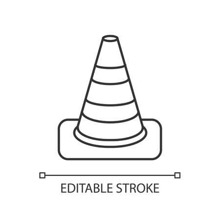 Traffic cone pixel perfect linear icon. Roadworks caution. Pedestrian sign for warning. Thin line customizable illustration. Contour symbol. Vector isolated outline drawing. Editable stroke