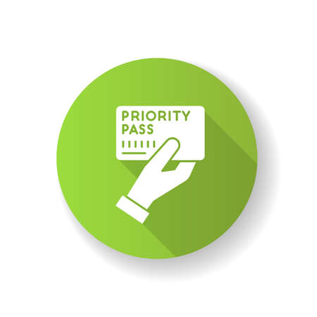 Priority pass green flat design long shadow glyph icon. Boarding ticket for airplane flight. VIP document for passenger service. Club card to prove membership. Silhouette RGB color illustration