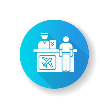 Airport information desk blue flat design long shadow glyph icon. Registration desk for airplane passengers. Helpdesk to provide flight information. Silhouette RGB color illustration  イラスト・ベクター素材