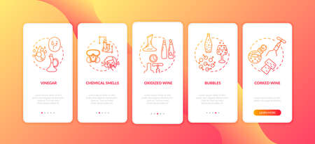Wine tasting onboarding mobile app page screen with concepts. Poor quality alcohol from bottle damage walkthrough 5 steps graphic instructions. UI vector template with RGB color illustrations