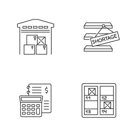 Warehouse management pixel perfect linear icons set. Goods counting, financial bookkeeping, storekeeping. Customizable thin line contour symbols. Isolated vector outline illustrations. Editable stroke