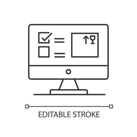 Automated tracking system pixel perfect linear icon. Inventory management software, program. Thin line customizable illustration. Contour symbol. Vector isolated outline drawing. Editable stroke