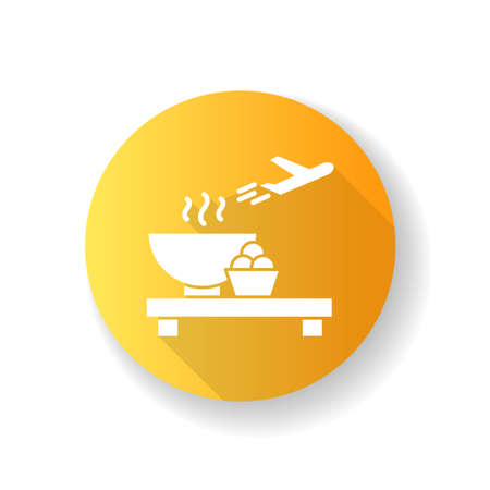 Airport restaurant yellow flat design long shadow glyph icon. Serving food in aircraft terminal cafe. Eat at cantine before airplane flight. Launch for passenger. Silhouette RGB color illustration