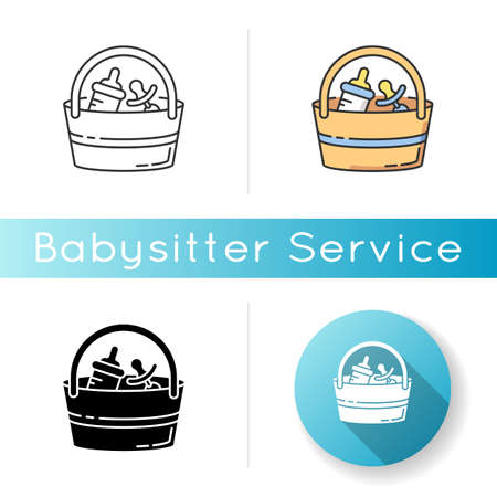 Babysitter set icon. Baby pacifier. Bottle for feeding infant child. Bag with items for child care. Child care kit. Linear black and RGB color styles. Isolated vector illustrations