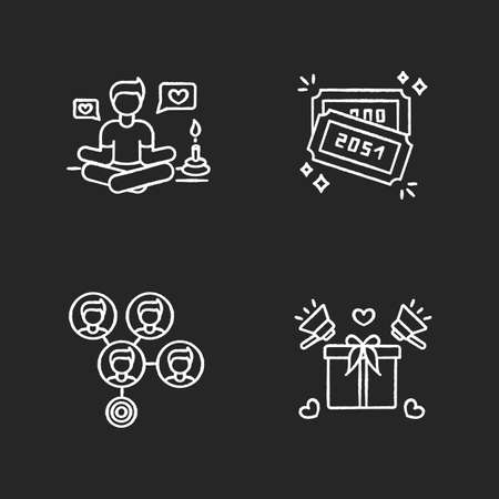 Social media marketing chalk white icons set on black background. Lifestyle guru. Raffle tickets with numbers. Mass effect connection. Product promotion. Isolated vector chalkboard illustrations Ilustração