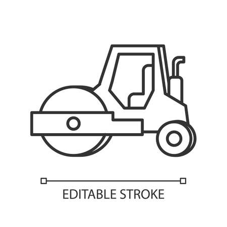 Road roller pixel perfect linear icon. Compactor type vehicle for construction works. Thin line customizable illustration. Contour symbol. Vector isolated outline drawing. Editable stroke