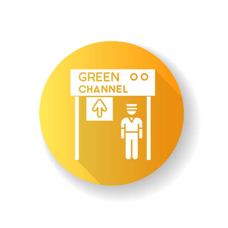 Green channel yellow flat design long shadow glyph icon. Airport terminal checkpoint. Security at entrance. Guard on gate control. Open transit way. Tarmak check. Silhouette RGB color illustration Ilustração
