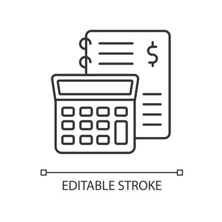 Financial accounting pixel perfect linear icon. Inventory management, bookkeeping, audit. Thin line customizable illustration. Contour symbol. Vector isolated outline drawing. Editable stroke Vektorgrafik