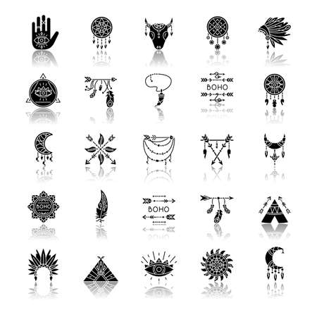 Boho style drop shadow black glyph icons set. Native American Indian amulets. Dreamcatcher ethnic charms. Esoteric symbols. Vintage pendant. Isolated vector illustrations on white space
