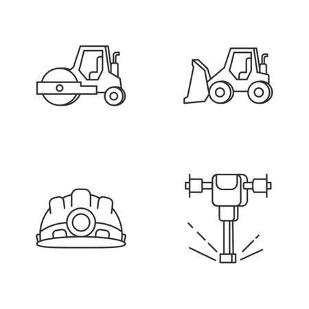 Road works pixel perfect linear icons set. Bulldozer for construction work. Roller for paving. Customizable thin line contour symbols. Isolated vector outline illustrations. Editable stroke Illustration