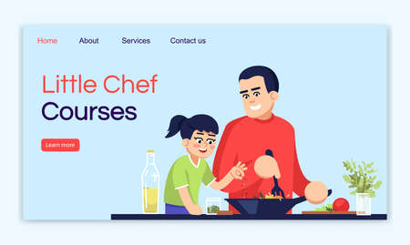 Little chef courses landing page vector template. Master class website interface idea with flat illustrations. Cooking lessons homepage layout. Culinary teaching cartoon web banner, webpage Vecteurs