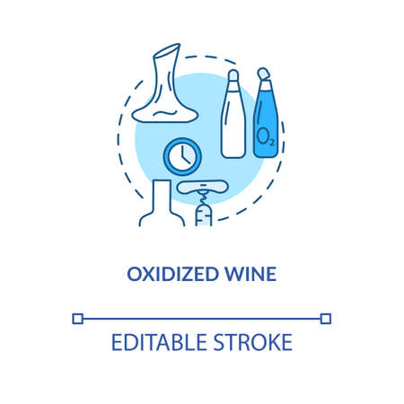 Oxidized wine concept icon. Alcohol drink flaws indication, winetasting idea thin line illustration. Heat damage, oxygen exposure signs. Vector isolated outline RGB color drawing. Editable stroke